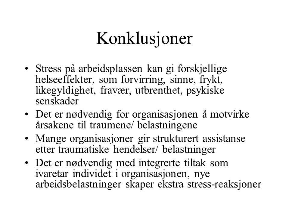 Konklusjoner Stress på arbeidsplassen kan gi forskjellige helseeffekter, som forvirring, sinne, frykt, likegyldighet, fravær, utbrenthet, psykiske senskader Det er nødvendig for organisasjonen å motvirke årsakene til traumene/ belastningene Mange organisasjoner gir strukturert assistanse etter traumatiske hendelser/ belastninger Det er nødvendig med integrerte tiltak som ivaretar individet i organisasjonen, nye arbeidsbelastninger skaper ekstra stress-reaksjoner