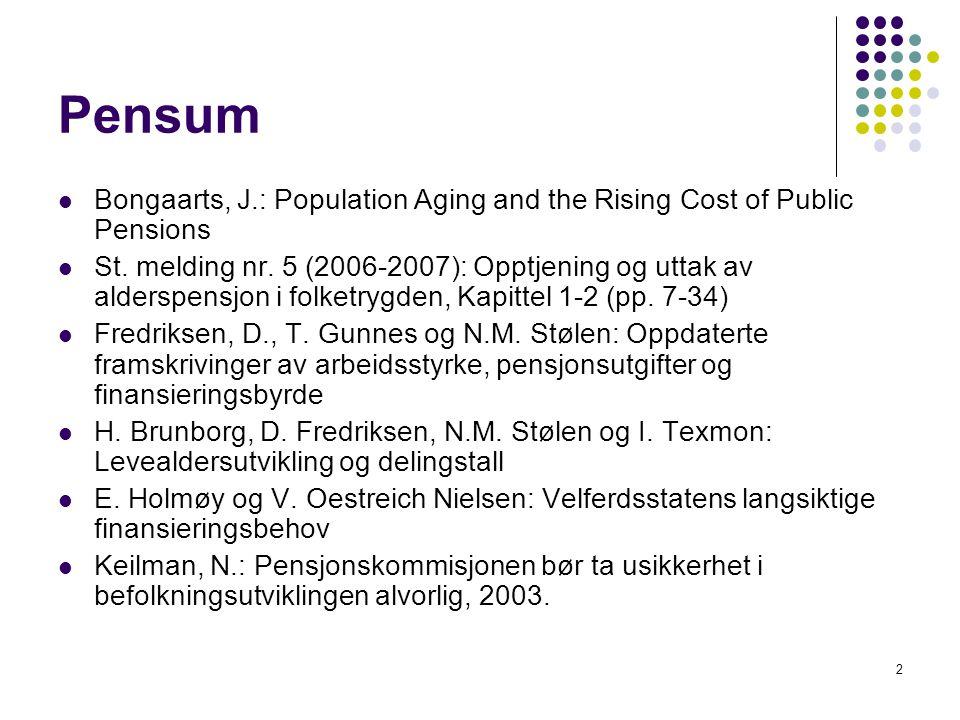 3 Hovedpoeng Pga aldringen i befolkningen kommer utgiftene til offentlige alderspensjoner i Norge til å øke sterkt i framtiden.