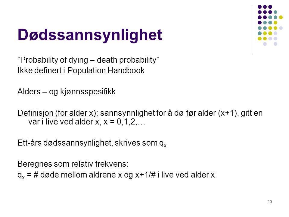 """10 Dødssannsynlighet """"Probability of dying – death probability"""" Ikke definert i Population Handbook Alders – og kjønnsspesifikk Definisjon (for alder"""