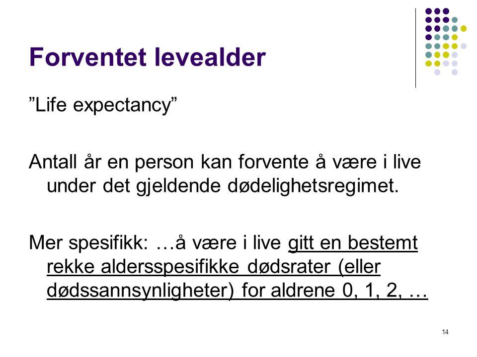 """14 Forventet levealder """"Life expectancy"""" Antall år en person kan forvente å være i live under det gjeldende dødelighetsregimet. Mer spesifikk: …å være"""