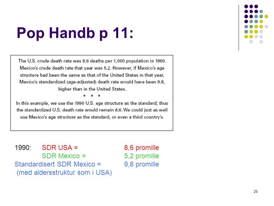 26 Pop Handb p 11: 1990: SDR USA = 8,6 promille SDR Mexico = 5,2 promille Standardisert SDR Mexico = 9,8 promille (med aldersstruktur som i USA)