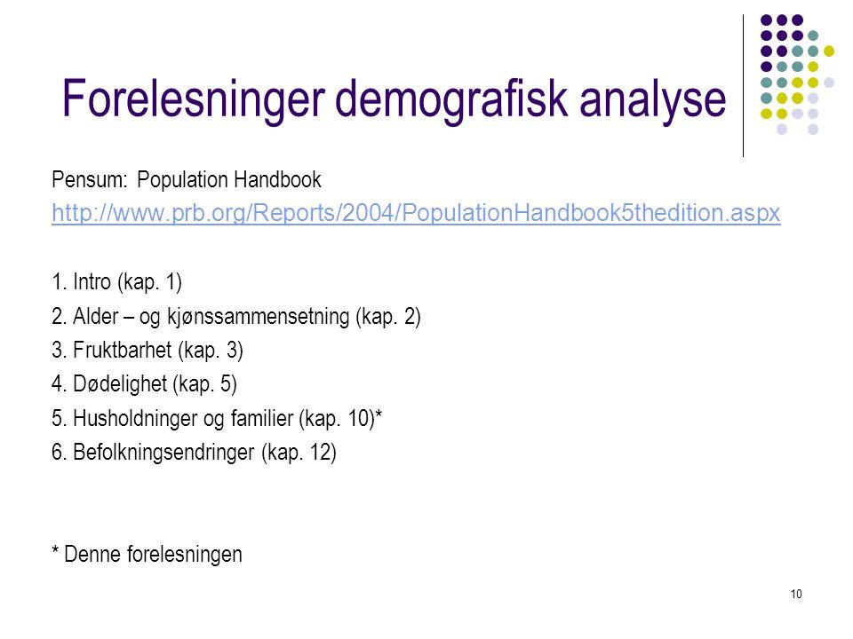 10 Forelesninger demografisk analyse Pensum: Population Handbook http://www.prb.org/Reports/2004/PopulationHandbook5thedition.aspx 1. Intro (kap. 1) 2