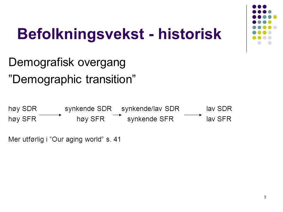 """9 Befolkningsvekst - historisk Demografisk overgang """"Demographic transition"""" høy SDRsynkende SDRsynkende/lav SDRlav SDR høy SFR høy SFR synkende SFR l"""