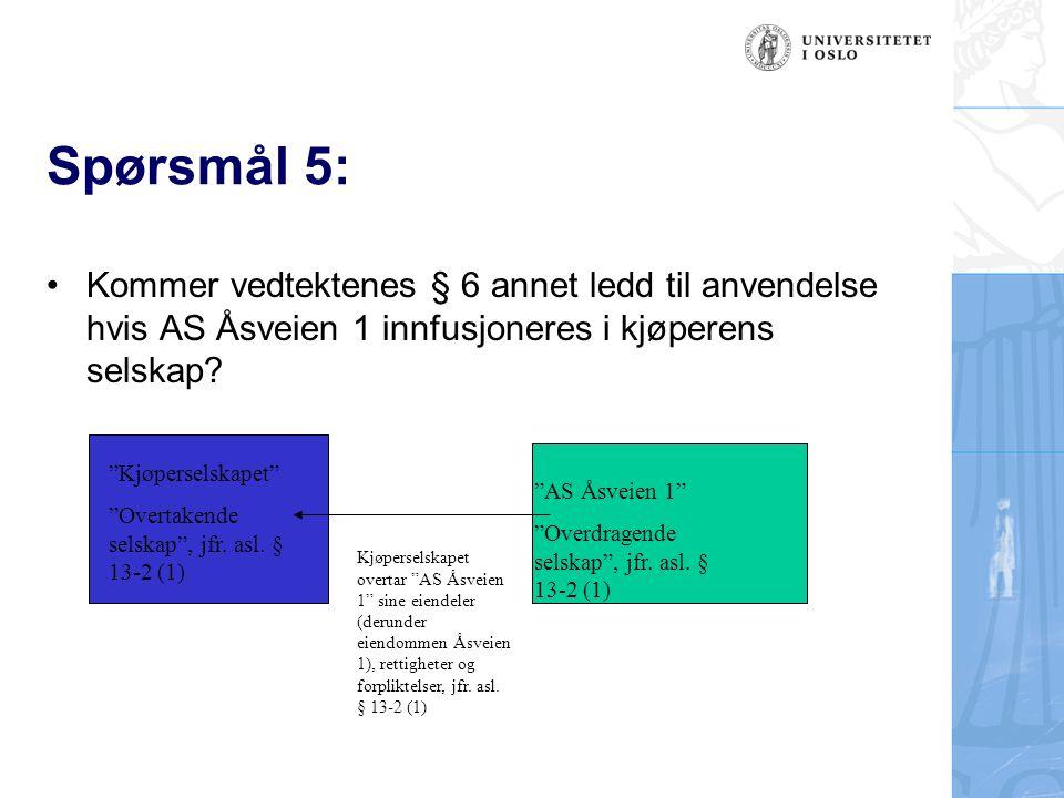"""Spørsmål 5: Kommer vedtektenes § 6 annet ledd til anvendelse hvis AS Åsveien 1 innfusjoneres i kjøperens selskap? """"Kjøperselskapet"""" """"Overtakende selsk"""