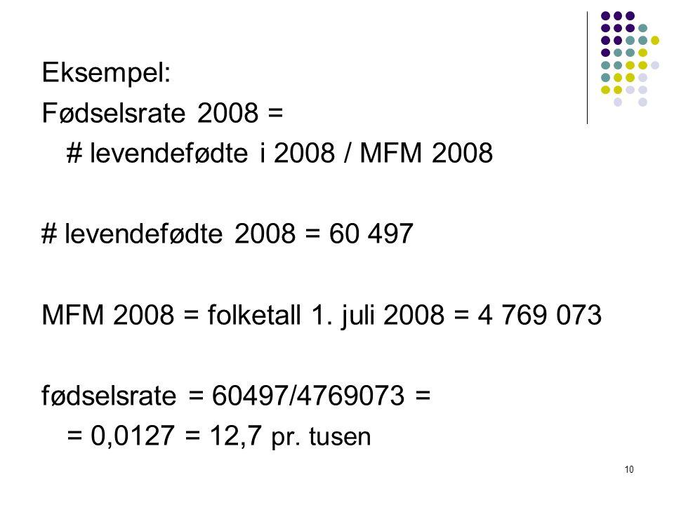 10 Eksempel: Fødselsrate 2008 = # levendefødte i 2008 / MFM 2008 # levendefødte 2008 = 60 497 MFM 2008 = folketall 1.