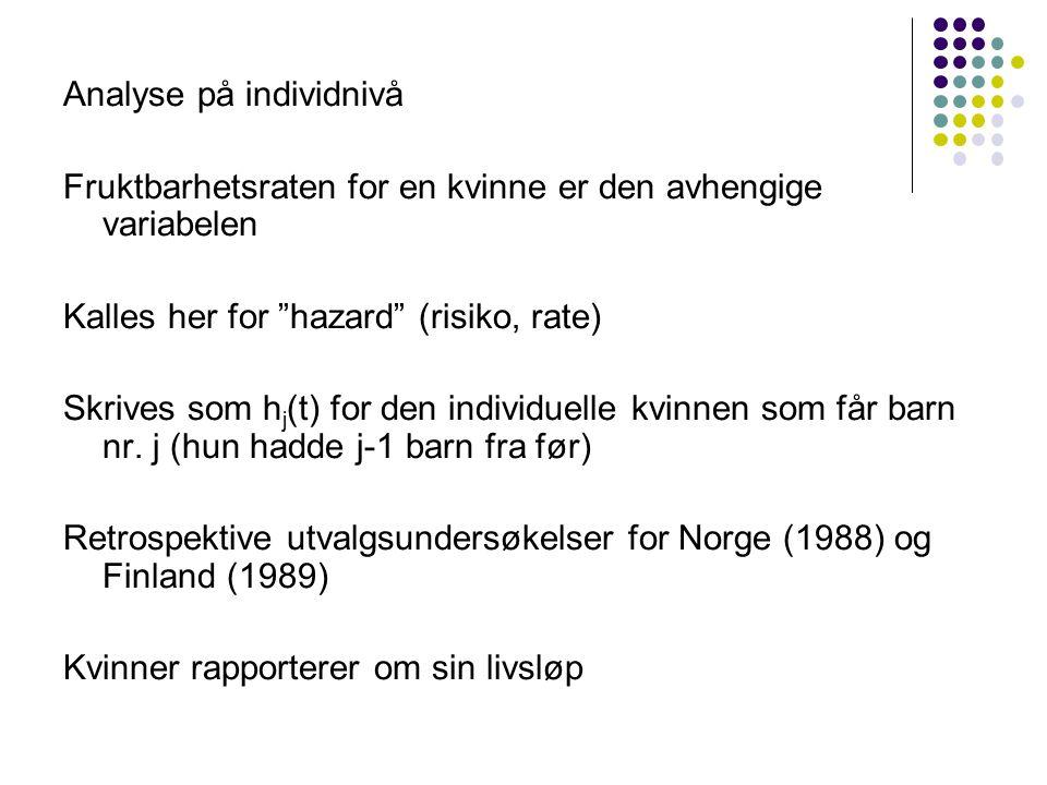 Analyse på individnivå Fruktbarhetsraten for en kvinne er den avhengige variabelen Kalles her for hazard (risiko, rate) Skrives som h j (t) for den individuelle kvinnen som får barn nr.