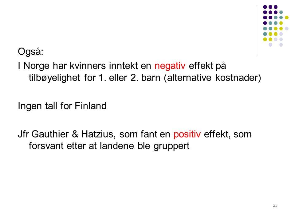 Også: I Norge har kvinners inntekt en negativ effekt på tilbøyelighet for 1.