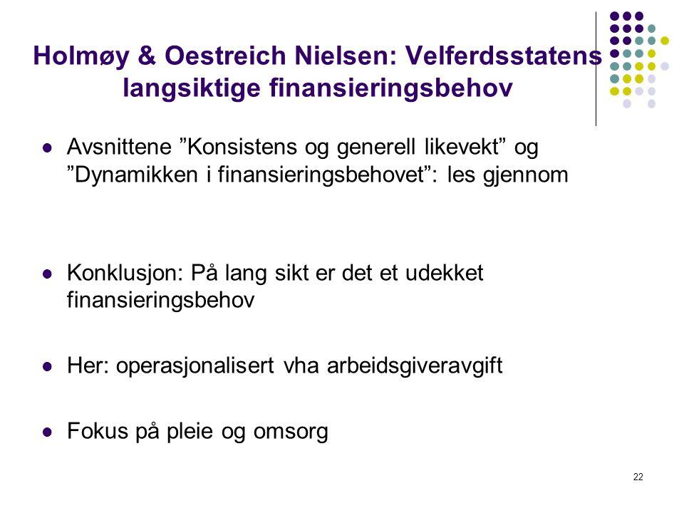 Holmøy & Oestreich Nielsen: Velferdsstatens langsiktige finansieringsbehov Avsnittene Konsistens og generell likevekt og Dynamikken i finansieringsbehovet : les gjennom Konklusjon: På lang sikt er det et udekket finansieringsbehov Her: operasjonalisert vha arbeidsgiveravgift Fokus på pleie og omsorg 22