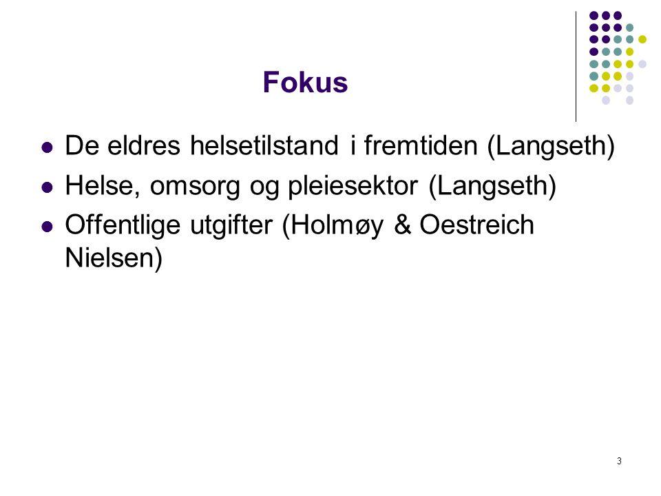 Fokus De eldres helsetilstand i fremtiden (Langseth) Helse, omsorg og pleiesektor (Langseth) Offentlige utgifter (Holmøy & Oestreich Nielsen) 3