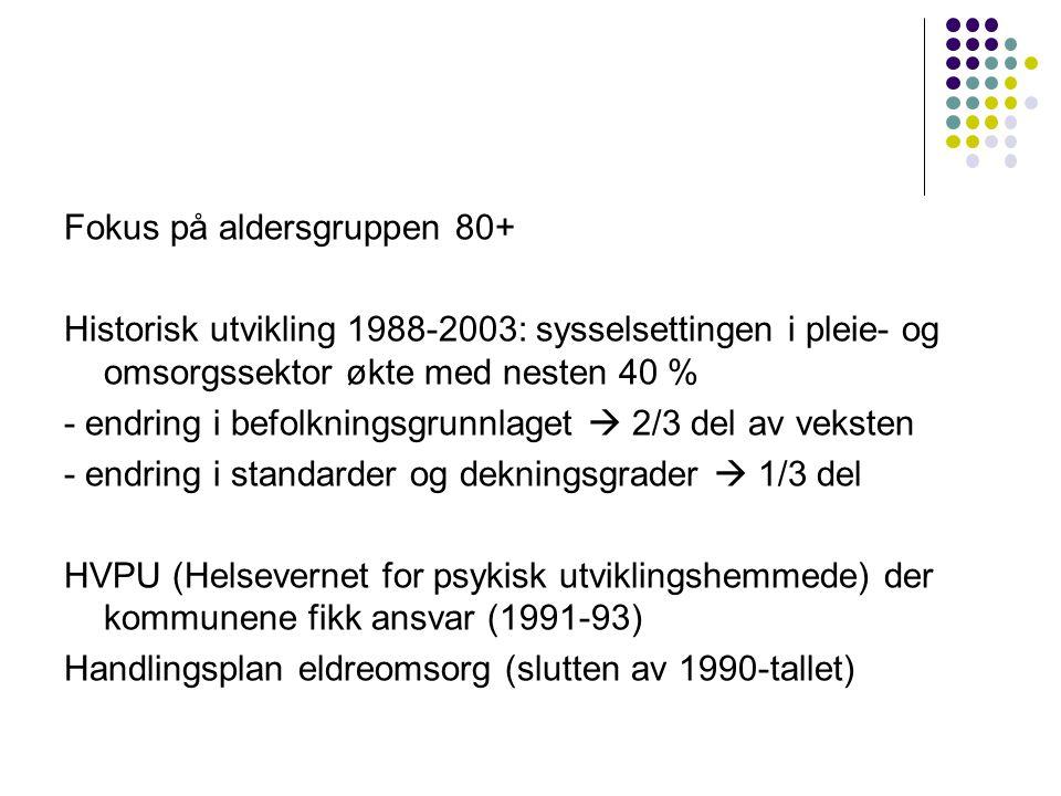 Fokus på aldersgruppen 80+ Historisk utvikling 1988-2003: sysselsettingen i pleie- og omsorgssektor økte med nesten 40 % - endring i befolkningsgrunnlaget  2/3 del av veksten - endring i standarder og dekningsgrader  1/3 del HVPU (Helsevernet for psykisk utviklingshemmede) der kommunene fikk ansvar (1991-93) Handlingsplan eldreomsorg (slutten av 1990-tallet)