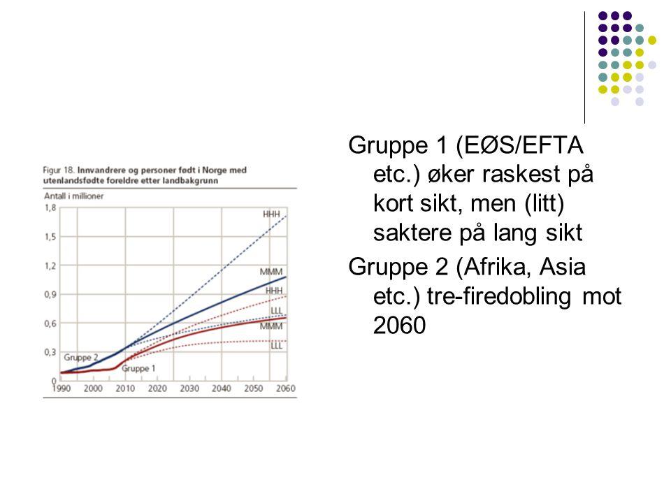 Gruppe 1 (EØS/EFTA etc.) øker raskest på kort sikt, men (litt) saktere på lang sikt Gruppe 2 (Afrika, Asia etc.) tre-firedobling mot 2060