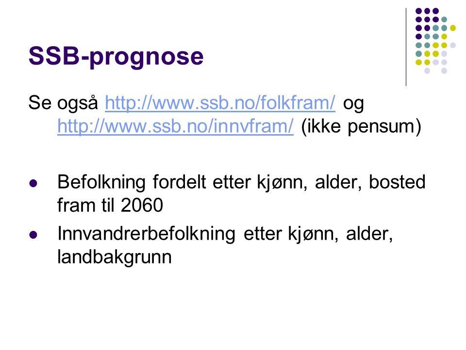 SSB-prognose Se også http://www.ssb.no/folkfram/ og http://www.ssb.no/innvfram/ (ikke pensum)http://www.ssb.no/folkfram/ http://www.ssb.no/innvfram/ Befolkning fordelt etter kjønn, alder, bosted fram til 2060 Innvandrerbefolkning etter kjønn, alder, landbakgrunn