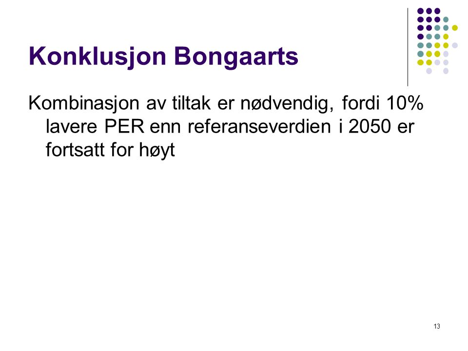 Konklusjon Bongaarts Kombinasjon av tiltak er nødvendig, fordi 10% lavere PER enn referanseverdien i 2050 er fortsatt for høyt 13