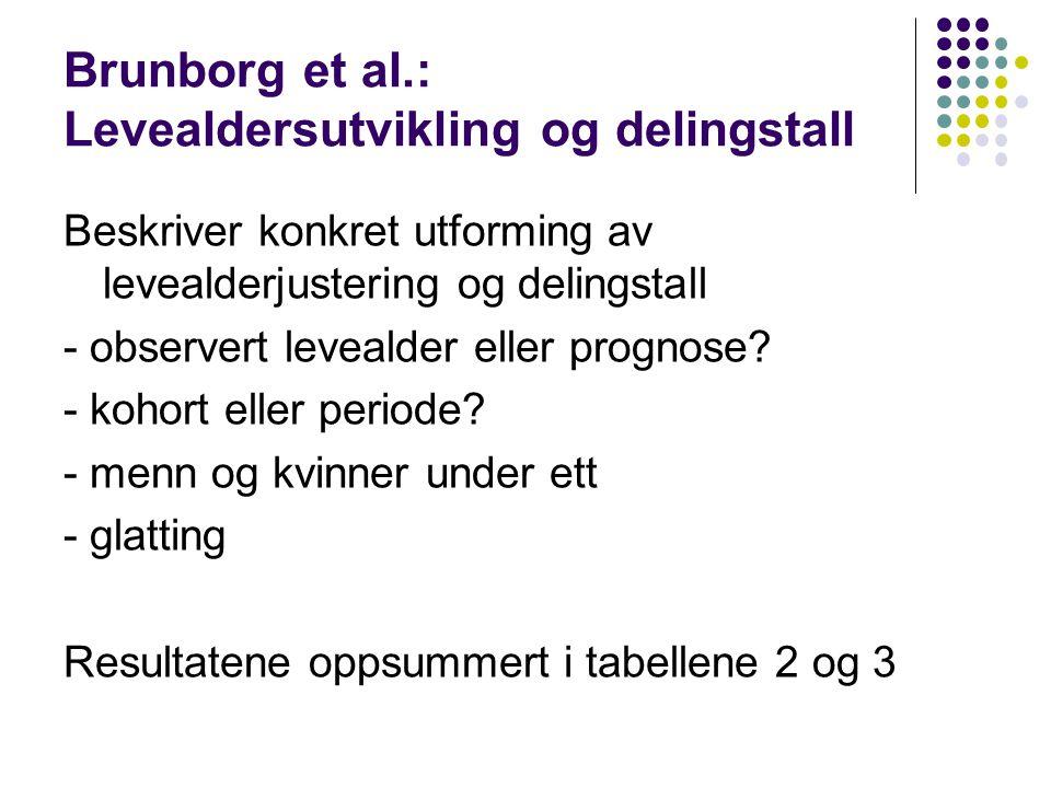 Brunborg et al.: Levealdersutvikling og delingstall Beskriver konkret utforming av levealderjustering og delingstall - observert levealder eller prognose.