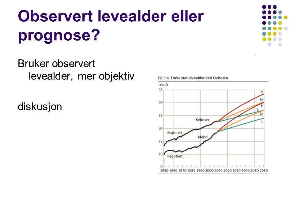Observert levealder eller prognose Bruker observert levealder, mer objektiv diskusjon