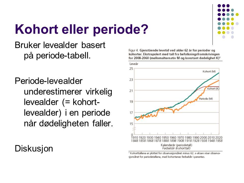 Kohort eller periode. Bruker levealder basert på periode-tabell.