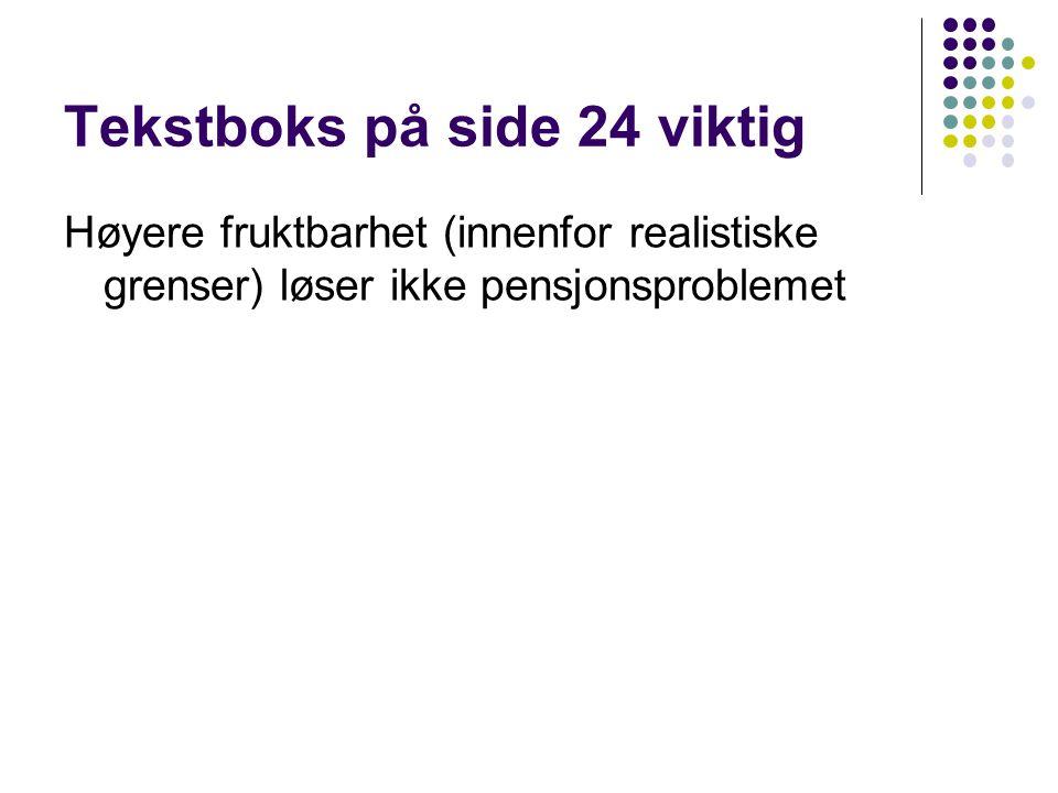 Tekstboks på side 24 viktig Høyere fruktbarhet (innenfor realistiske grenser) løser ikke pensjonsproblemet