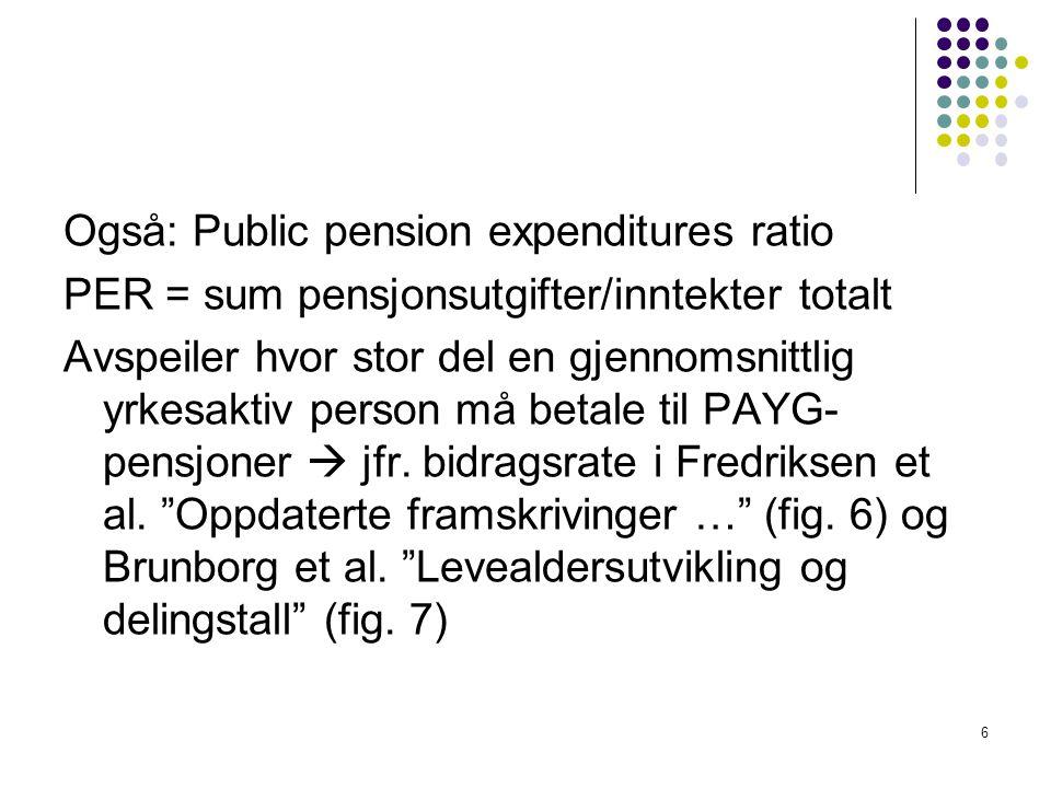 Også: Public pension expenditures ratio PER = sum pensjonsutgifter/inntekter totalt Avspeiler hvor stor del en gjennomsnittlig yrkesaktiv person må betale til PAYG- pensjoner  jfr.