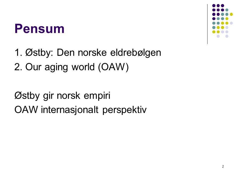 2 Pensum 1.Østby: Den norske eldrebølgen 2.