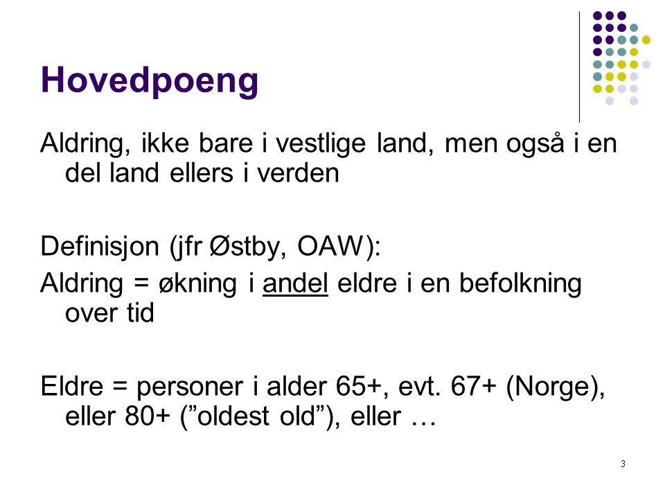 3 Hovedpoeng Aldring, ikke bare i vestlige land, men også i en del land ellers i verden Definisjon (jfr Østby, OAW): Aldring = økning i andel eldre i en befolkning over tid Eldre = personer i alder 65+, evt.