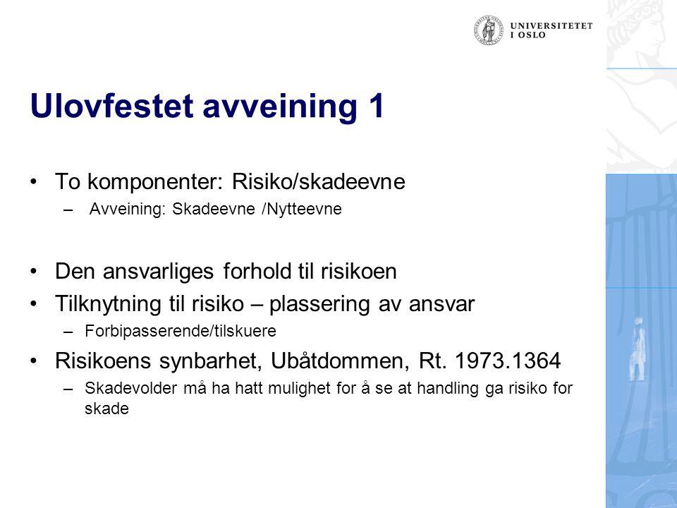 Ulovfestet avveining 1 To komponenter: Risiko/skadeevne – Avveining: Skadeevne /Nytteevne Den ansvarliges forhold til risikoen Tilknytning til risiko