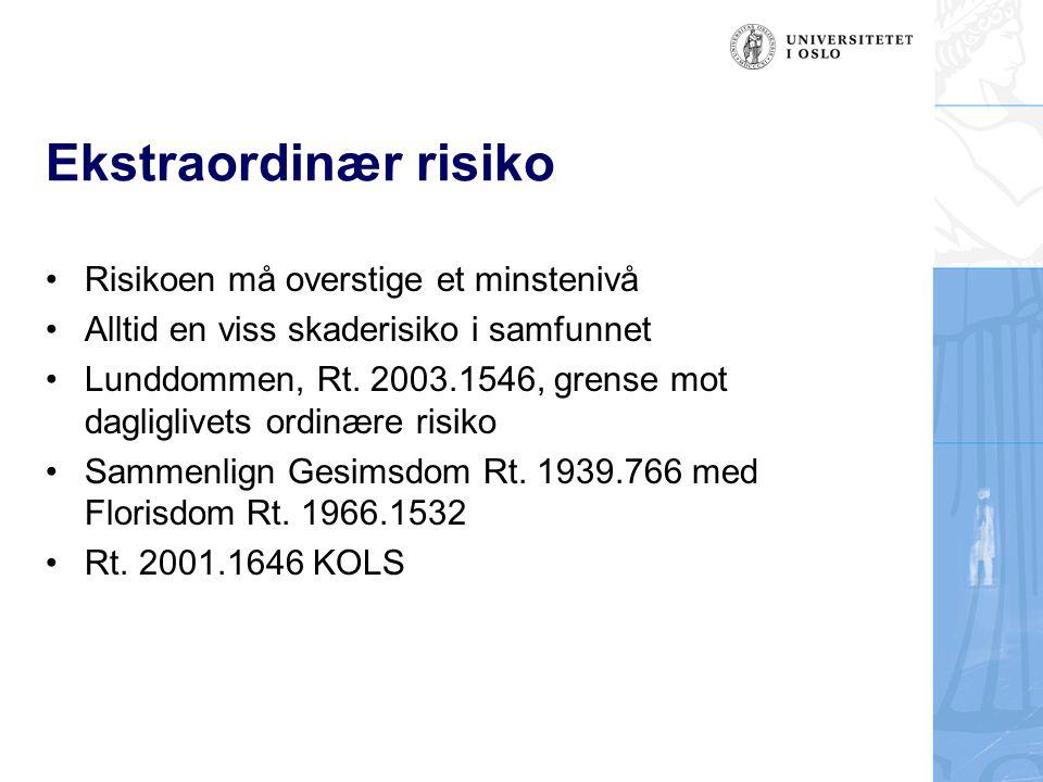 Ekstraordinær risiko Risikoen må overstige et minstenivå Alltid en viss skaderisiko i samfunnet Lunddommen, Rt. 2003.1546, grense mot dagliglivets ord