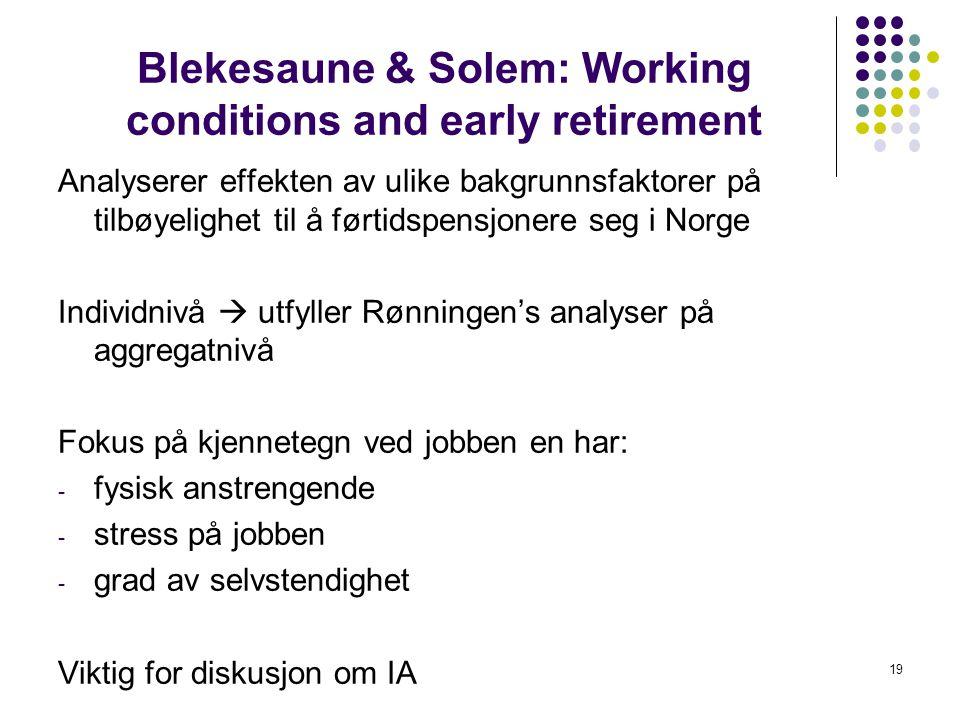 Blekesaune & Solem: Working conditions and early retirement Analyserer effekten av ulike bakgrunnsfaktorer på tilbøyelighet til å førtidspensjonere se