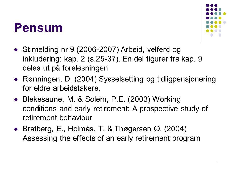 2 Pensum St melding nr 9 (2006-2007) Arbeid, velferd og inkludering: kap. 2 (s.25-37). En del figurer fra kap. 9 deles ut på forelesningen. Rønningen,