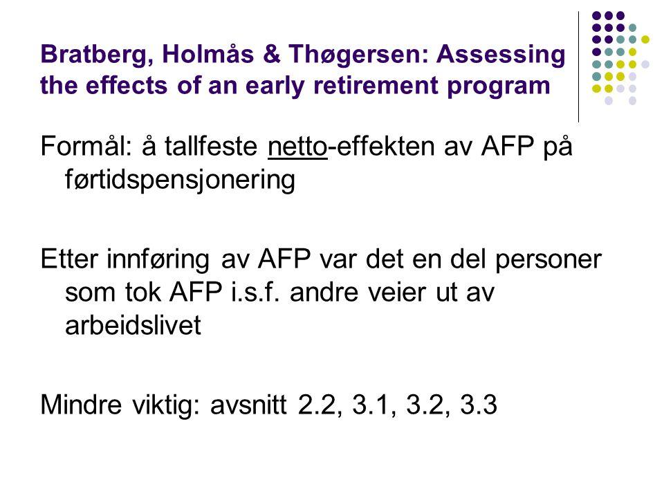 Bratberg, Holmås & Thøgersen: Assessing the effects of an early retirement program Formål: å tallfeste netto-effekten av AFP på førtidspensjonering Et