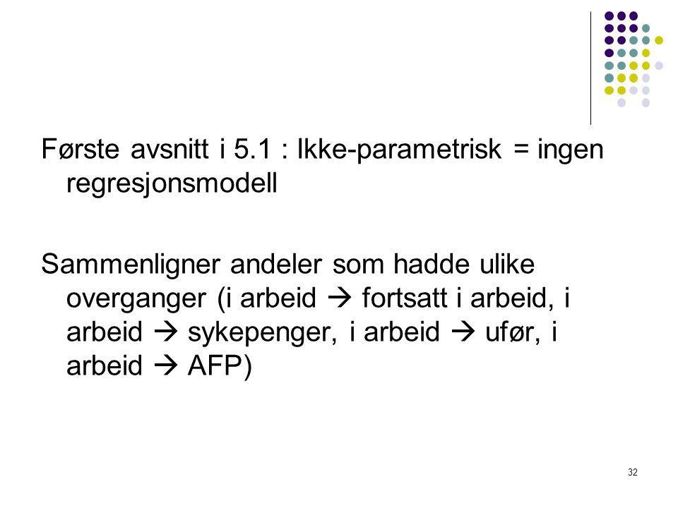 Første avsnitt i 5.1 : Ikke-parametrisk = ingen regresjonsmodell Sammenligner andeler som hadde ulike overganger (i arbeid  fortsatt i arbeid, i arbe