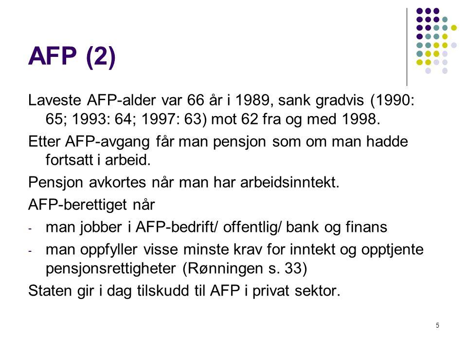 AFP (2) Laveste AFP-alder var 66 år i 1989, sank gradvis (1990: 65; 1993: 64; 1997: 63) mot 62 fra og med 1998. Etter AFP-avgang får man pensjon som o