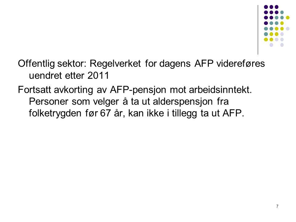 Offentlig sektor: Regelverket for dagens AFP videreføres uendret etter 2011 Fortsatt avkorting av AFP-pensjon mot arbeidsinntekt. Personer som velger