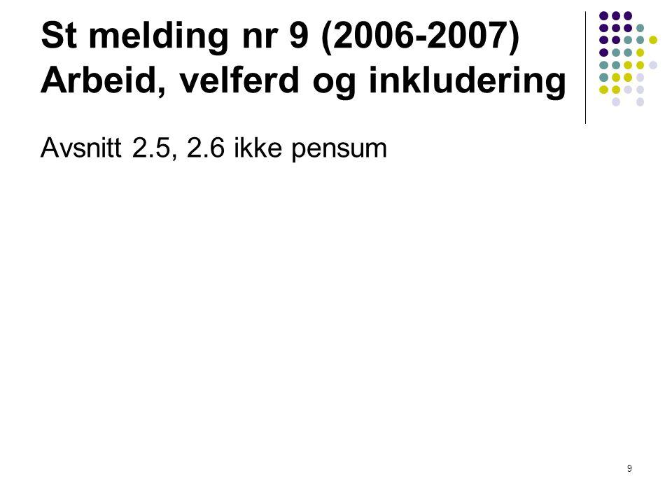 St melding nr 9 (2006-2007) Arbeid, velferd og inkludering Avsnitt 2.5, 2.6 ikke pensum 9