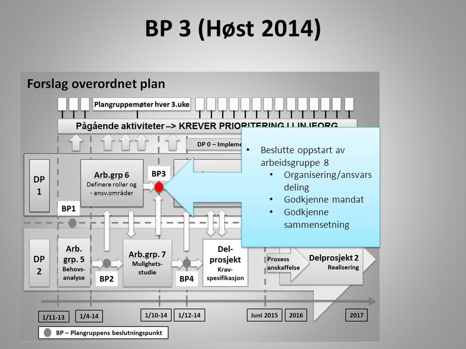 BP 3 (Høst 2014) Beslutte oppstart av arbeidsgruppe 8 Organisering/ansvars deling Godkjenne mandat Godkjenne sammensetning Beslutte oppstart av arbeid