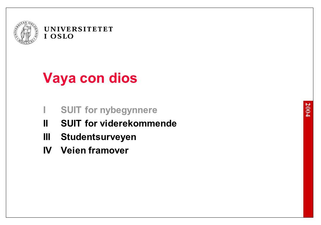 2004 Vaya con dios ISUIT for nybegynnere IISUIT for viderekommende IIIStudentsurveyen IVVeien framover