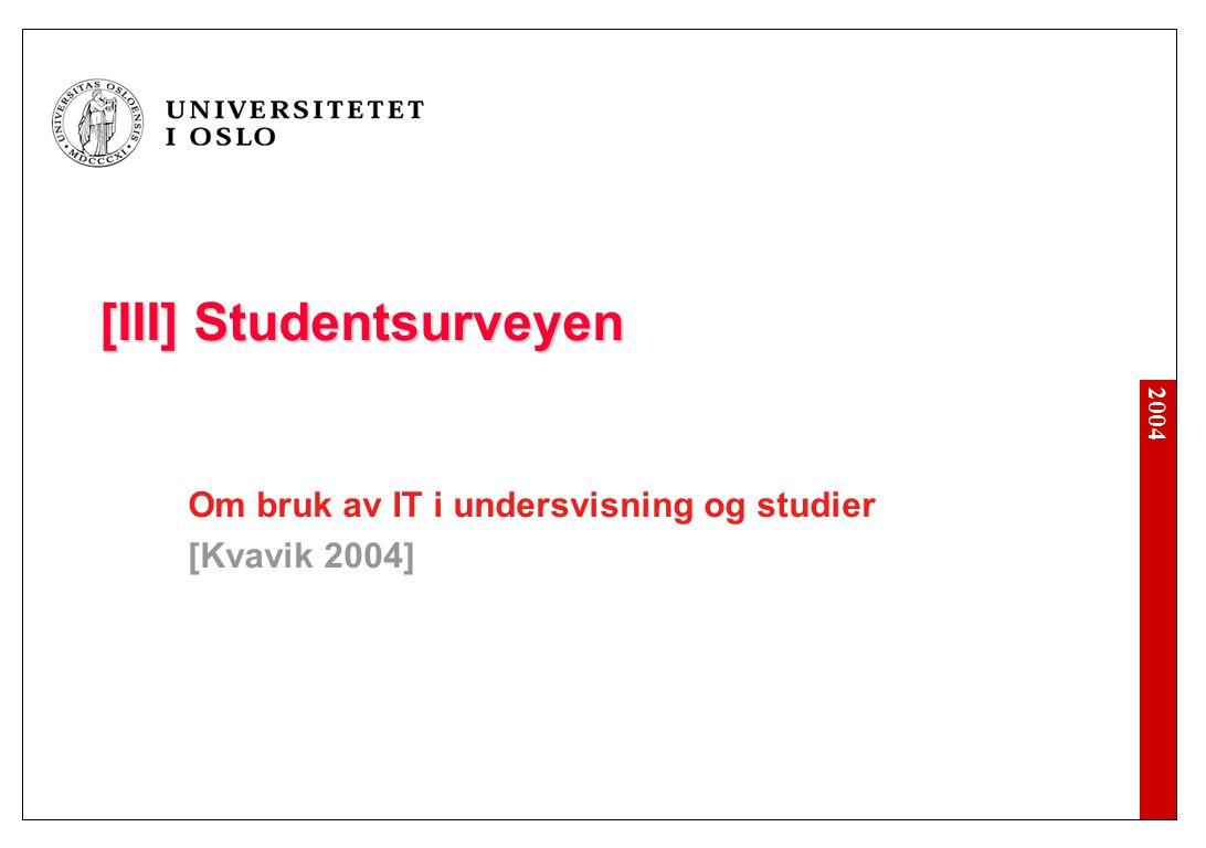 [III] Studentsurveyen Om bruk av IT i undersvisning og studier [Kvavik 2004]