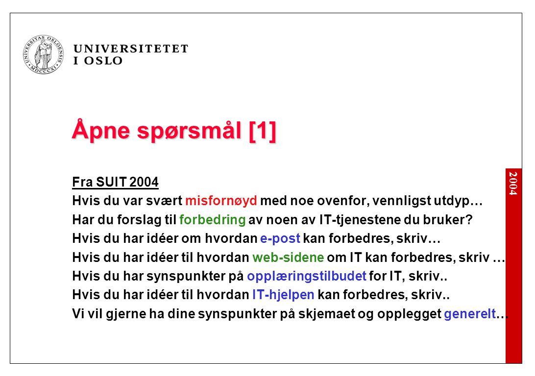 2004 Åpne spørsmål [1] Fra SUIT 2004 Hvis du var svært misfornøyd med noe ovenfor, vennligst utdyp… Har du forslag til forbedring av noen av IT-tjenestene du bruker.
