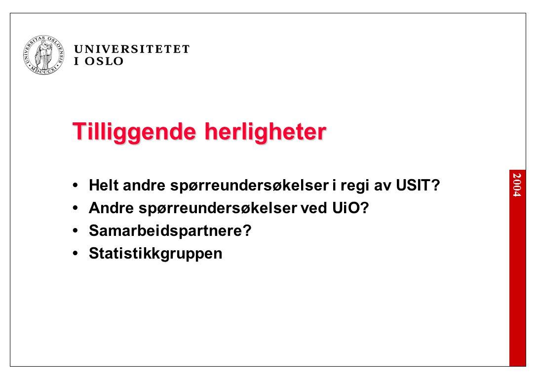 2004 Tilliggende herligheter Helt andre spørreundersøkelser i regi av USIT.