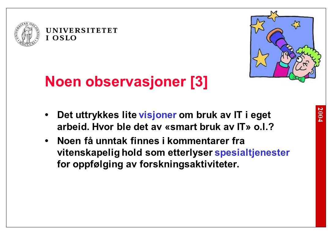 2004 Noen observasjoner [3] Det uttrykkes lite visjoner om bruk av IT i eget arbeid.