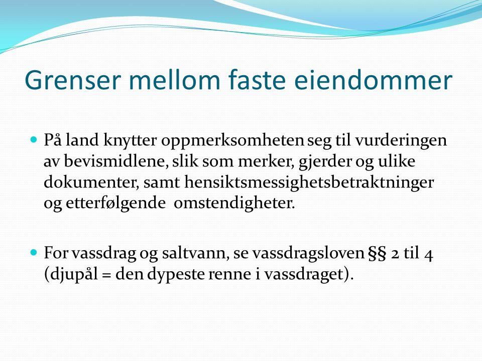 Strandretten Marbakken er den generelle eiendomsgrense, men strandeieren har visse rettigheter utenfor også, slik som: (i) Tilflottsrett (ii) Utfyllings- og utbyggingsrett (iii) Rett til å sjenere utøvelse av allemannsrett (iv) Rett til laksefiske (v) Rett til utnyttelse av tang og tare