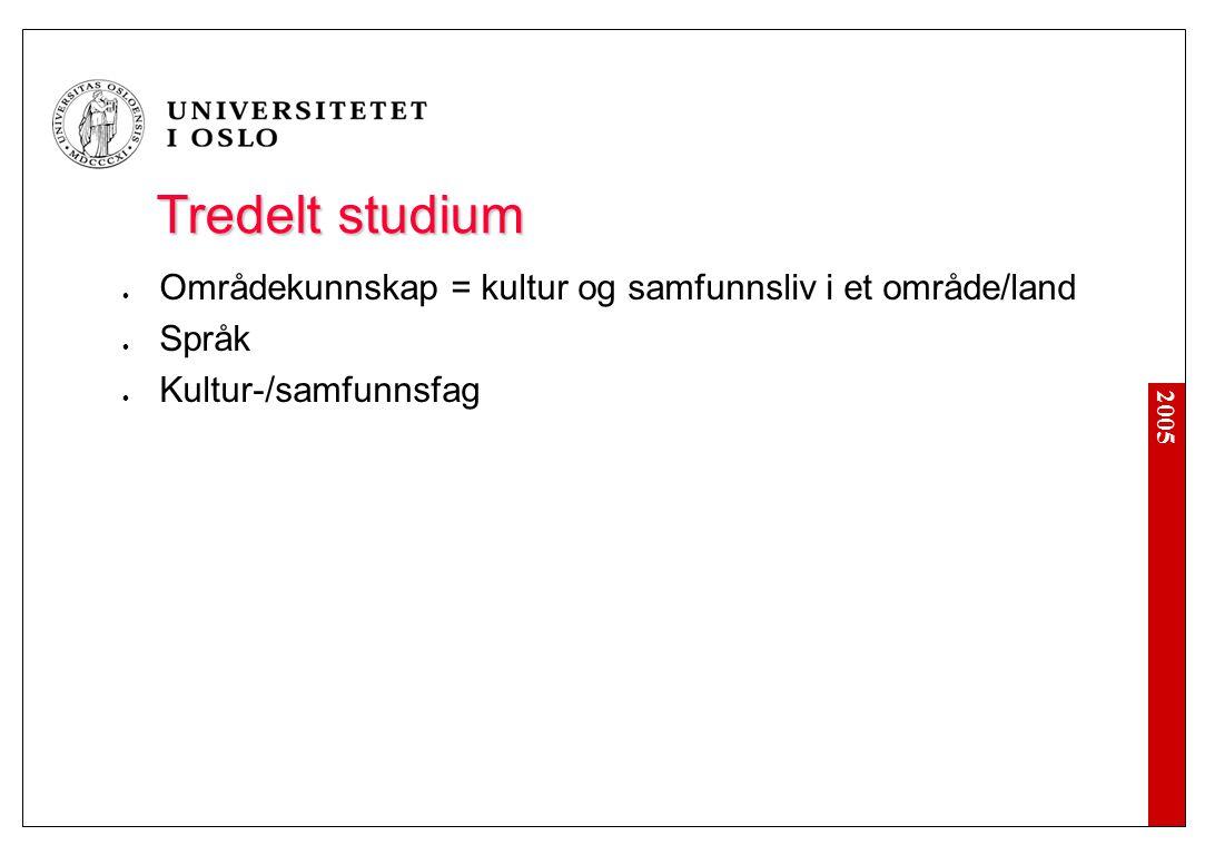 2005 Tredelt studium Områdekunnskap = kultur og samfunnsliv i et område/land Språk Kultur-/samfunnsfag