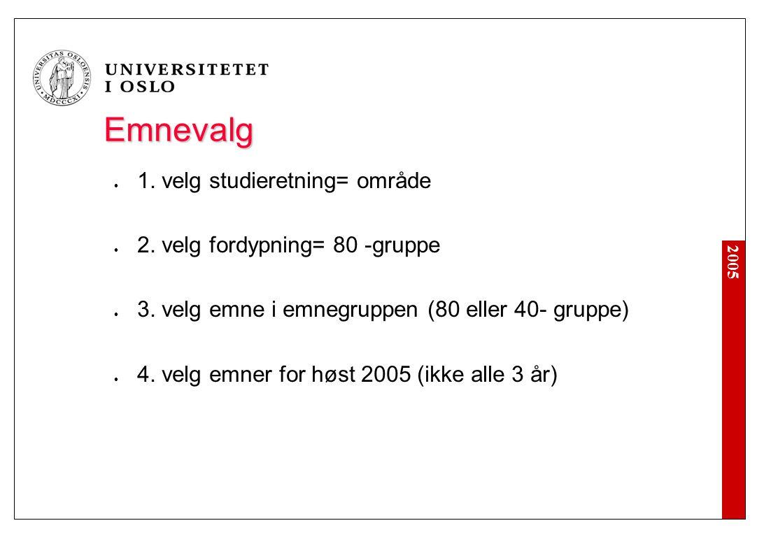 2005 Emnevalg 1. velg studieretning= område 2. velg fordypning= 80 -gruppe 3. velg emne i emnegruppen (80 eller 40- gruppe) 4. velg emner for høst 200