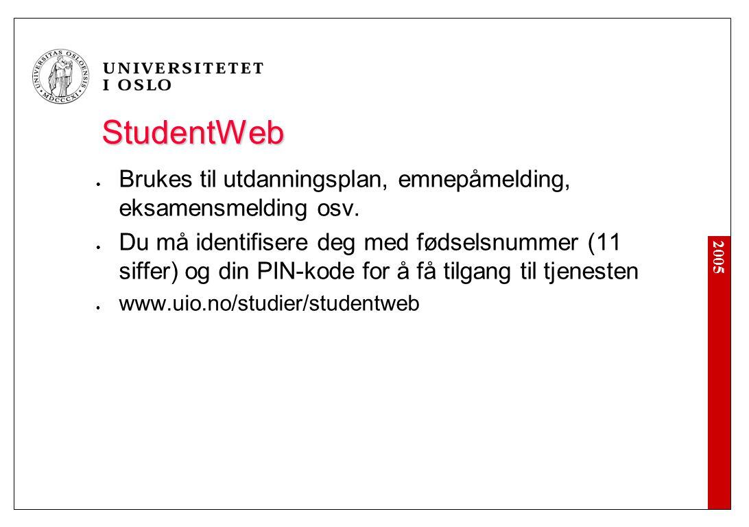 2005 StudentWeb Brukes til utdanningsplan, emnepåmelding, eksamensmelding osv. Du må identifisere deg med fødselsnummer (11 siffer) og din PIN-kode fo
