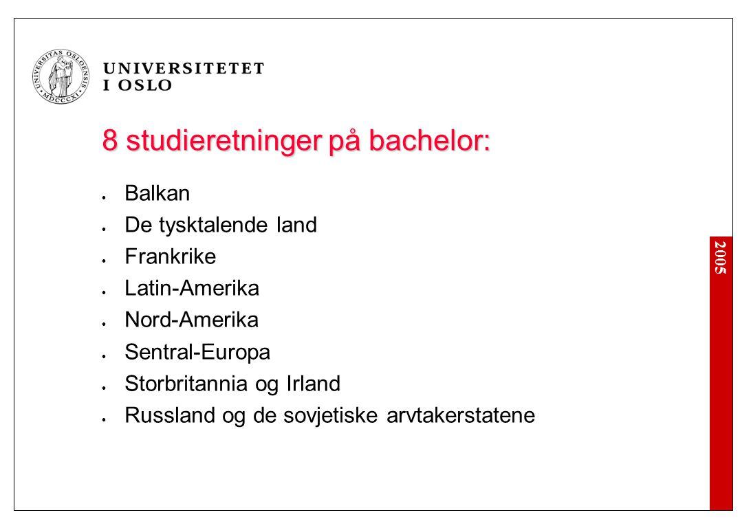 2005 8 studieretninger på bachelor: Balkan De tysktalende land Frankrike Latin-Amerika Nord-Amerika Sentral-Europa Storbritannia og Irland Russland og de sovjetiske arvtakerstatene