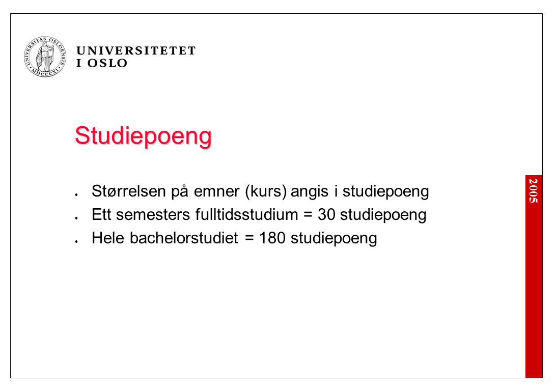 2005 Studiepoeng Størrelsen på emner (kurs) angis i studiepoeng Ett semesters fulltidsstudium = 30 studiepoeng Hele bachelorstudiet = 180 studiepoeng