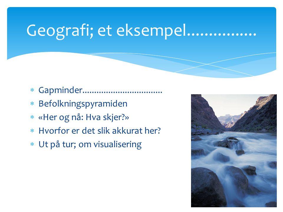  Gapminder..................................  Befolkningspyramiden  «Her og nå: Hva skjer?»  Hvorfor er det slik akkurat her?  Ut på tur; om visu