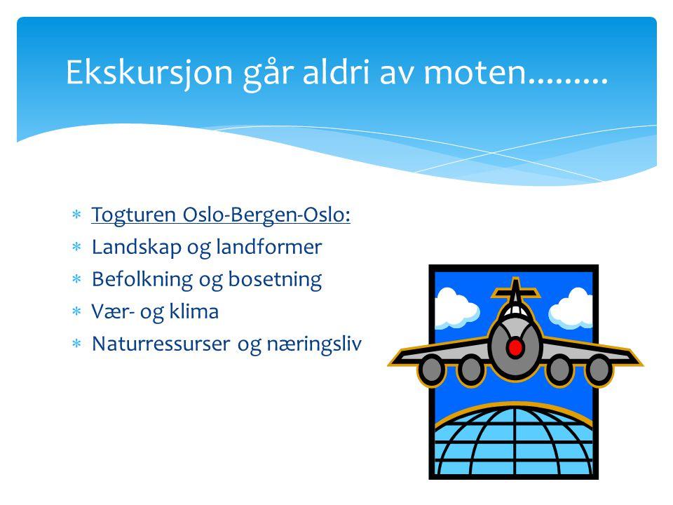  Togturen Oslo-Bergen-Oslo:  Landskap og landformer  Befolkning og bosetning  Vær- og klima  Naturressurser og næringsliv Ekskursjon går aldri av moten.........