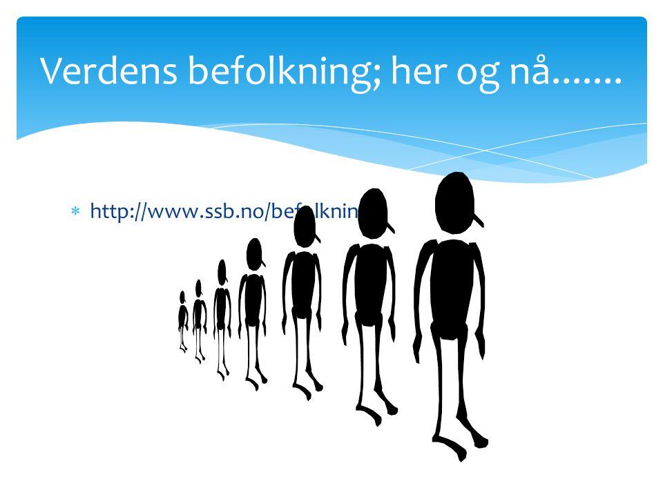  http://www.ssb.no/befolkning/ Verdens befolkning; her og nå.......