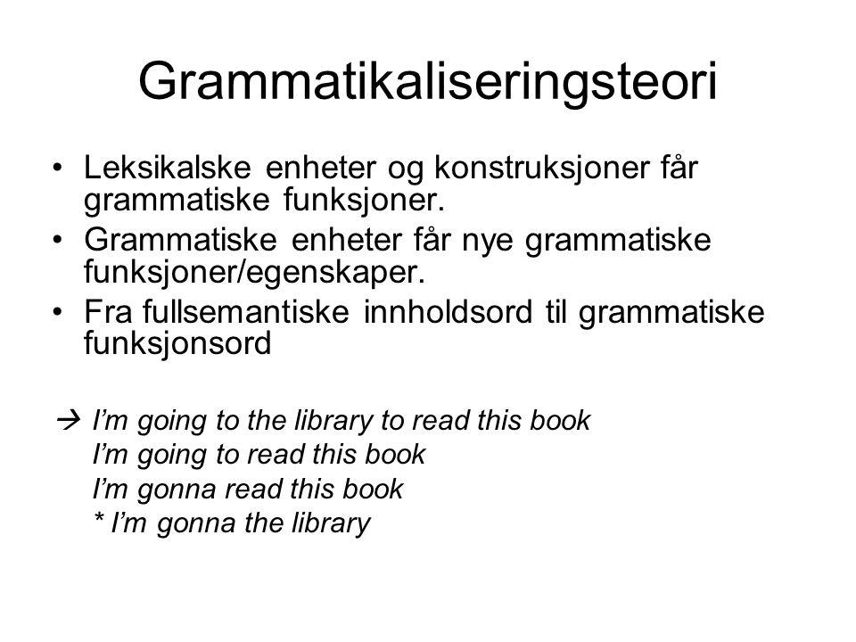 Grammatikaliseringsteori Leksikalske enheter og konstruksjoner får grammatiske funksjoner. Grammatiske enheter får nye grammatiske funksjoner/egenskap
