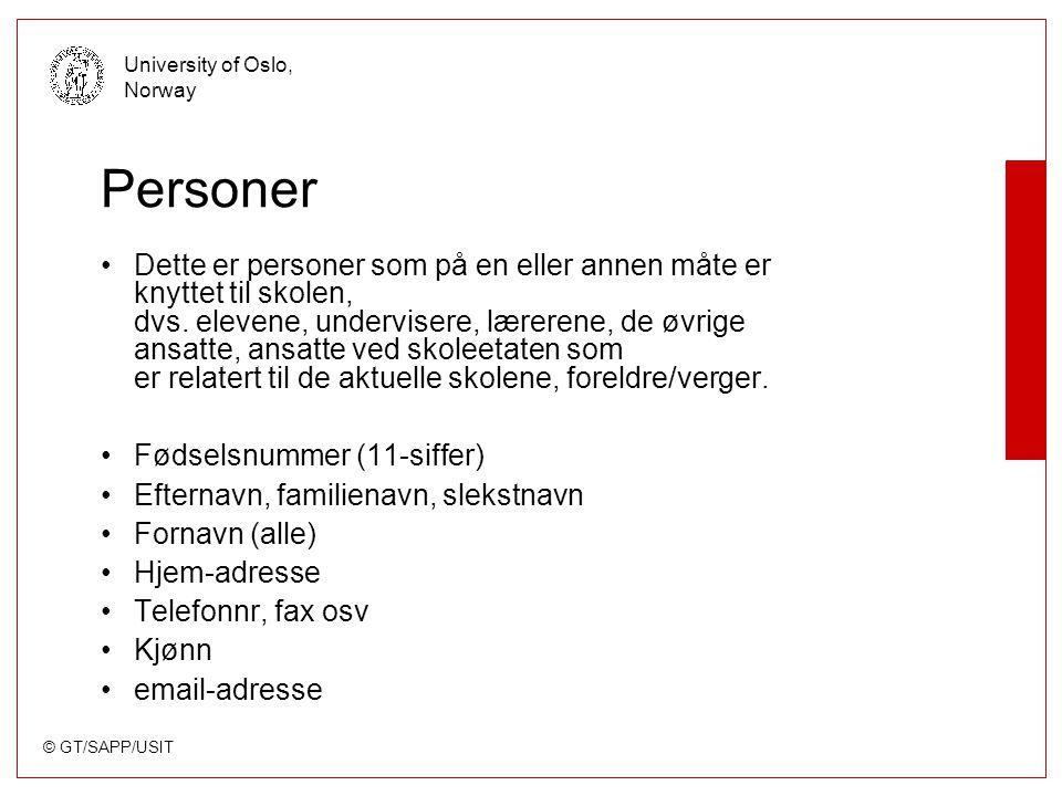 © GT/SAPP/USIT University of Oslo, Norway Personer Dette er personer som på en eller annen måte er knyttet til skolen, dvs.